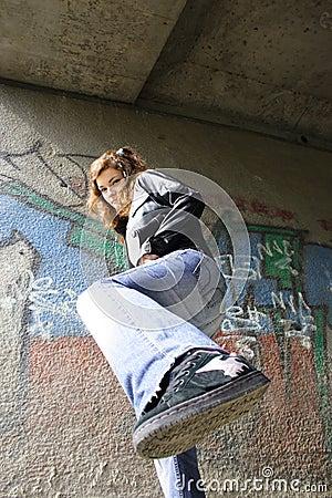 Girl kick