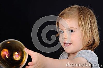 Girl, kids, blow bubble, catch