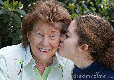 Girl Kisses Grandmother