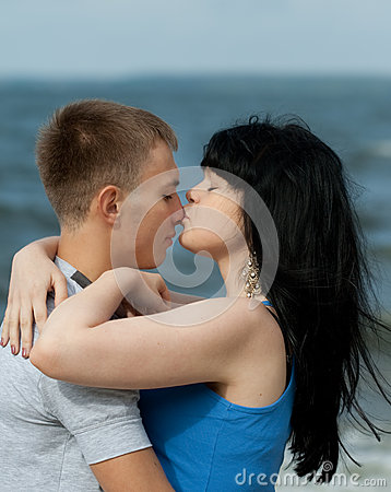 Girl is kissing her boyfriend