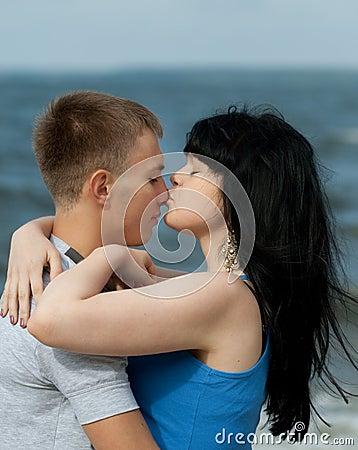 Girl is kissing her boyfriend