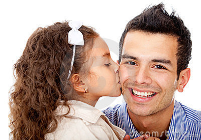 Girl kissing her father