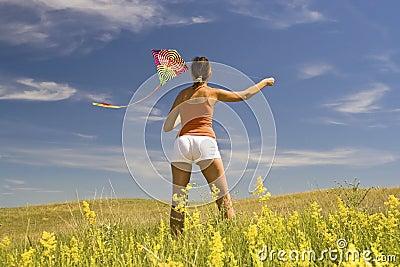 Girl kite fly.