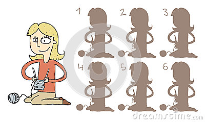 Girl Knitting Shadows Visual Game