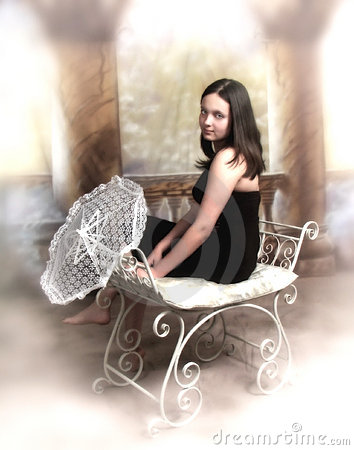 Girl with lace umbrella