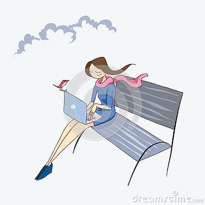 Girl with laptop on the bench vector illustration Vector Illustration