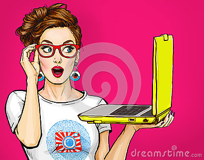 Girl with laptop in the hand in comic style. Woman with notebook.Girl in glasses. Hipster girl. Digital advertisement. Stock Photo