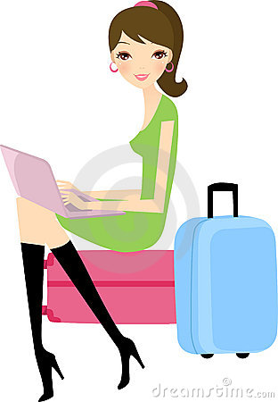 Girl with laptop and her suitcase