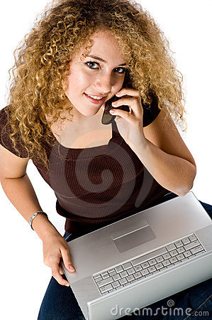 Girl On Laptop and phone