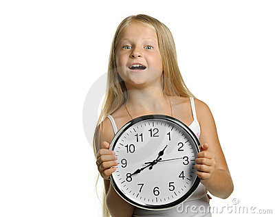 The girl with large clock