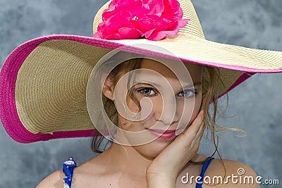 Girl in Large Sunhat
