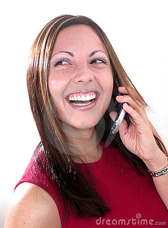 Girl Laughing On Cellular Phone