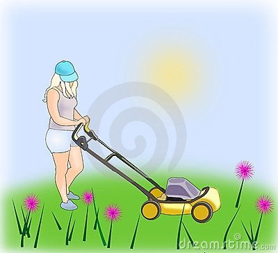 Girl with Lawn Mower