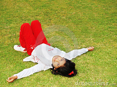 Girl Laying on Grass