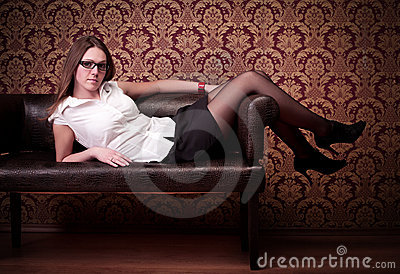 Girl laying on sofa