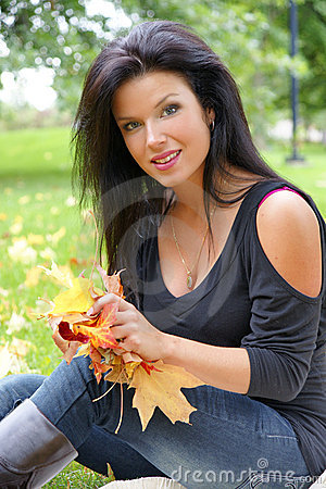Girl with leafs