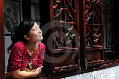 Girl Lean on Window