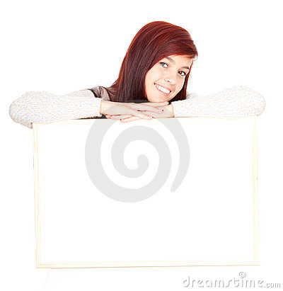 Girl leaning on a blank clipboard