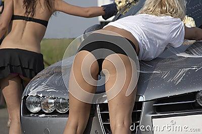 Girl leaning on bonnet
