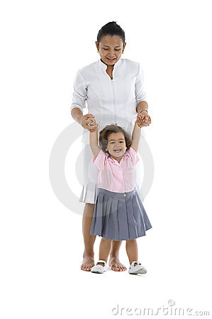 Girl learning how to walk