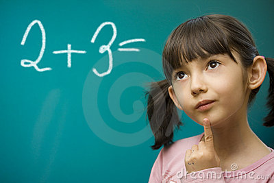 Girl learning math.