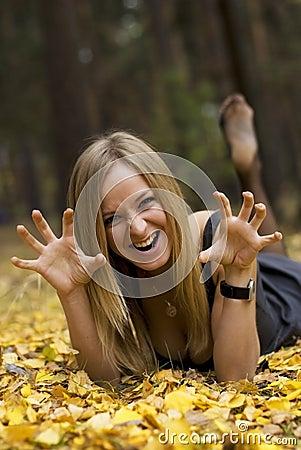 Girl on leaves