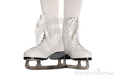 Girl Legs in Ice Skates on White Background