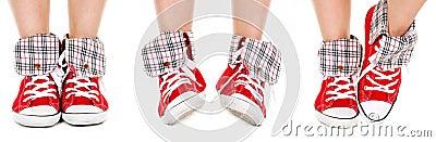 Girl legs in sport shoes