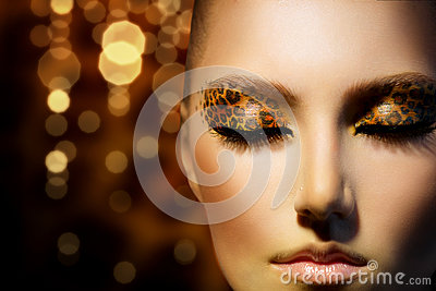 Girl with Leopard Makeup