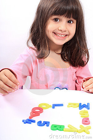 Girl and letters