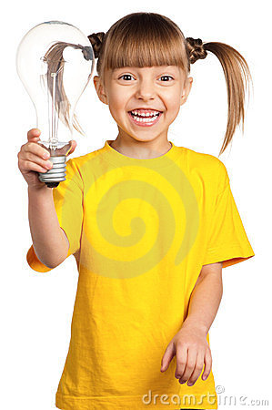 Girl with light bulb