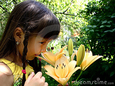 Girl and lily