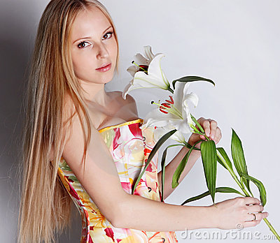 Girl with lily flower