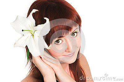 Girl with a lily flower