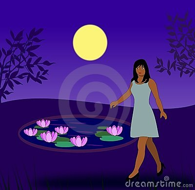 Girl by Lily Pond