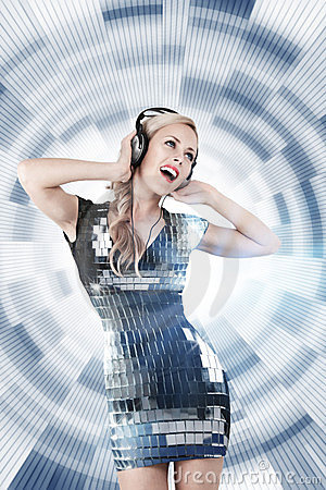 Girl listening disco music
