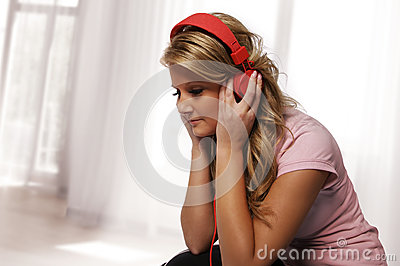 Girl listening with headphones