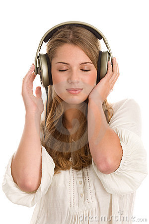 Free Girl Listening To Music With Headphones Stock Image - 19608521