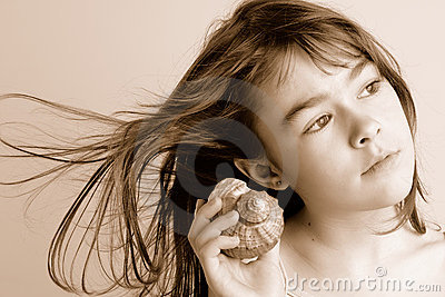 Girl Listening to Sea Shell