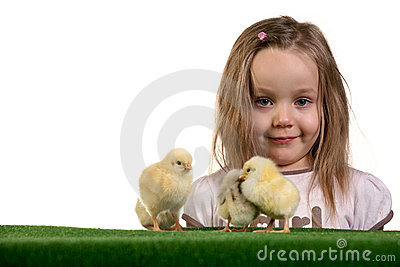 Girl and little chickens 3