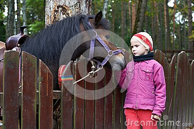 Girl and a little horse pony