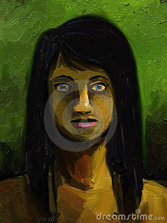 Girl With Long Black Hair - Digital Painting