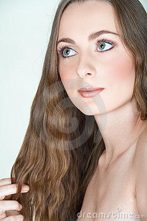 Girl with long hair and green eyes