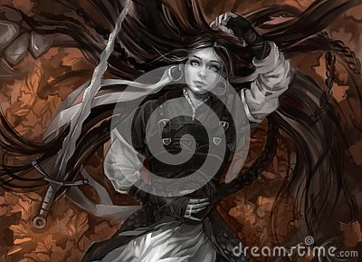 Girl with long hair and grey skin with sword Stock Photo