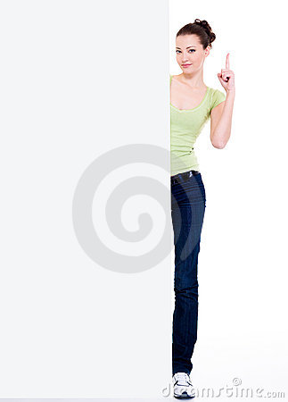 Free Girl Look  From Blank Banner Lift Forefinger Up Stock Image - 12239011