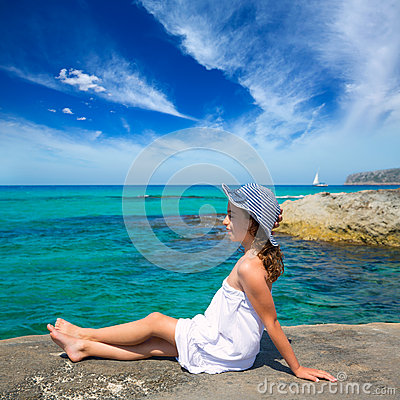 Free Girl Looking At Beach In Formentera Turquoise Mediterranean Royalty Free Stock Photo - 35455005