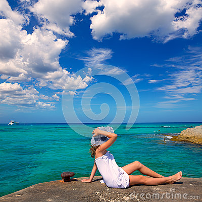 Free Girl Looking At Beach In Formentera Turquoise Mediterranean Stock Photography - 35461332
