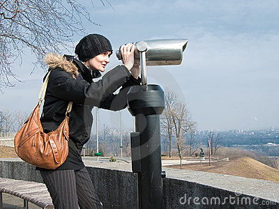 Girl looking in binocular
