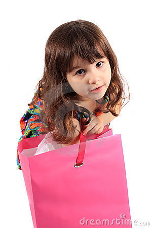 Girl looking in gift bag