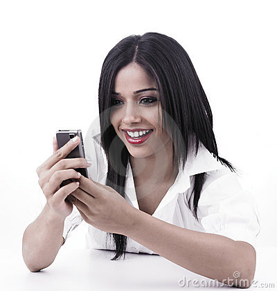 Girl looking at her cell phone